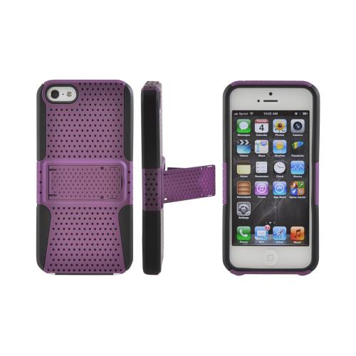 Apple iPhone SE / 5 / 5S  Case,  [Purple Mesh on Black]  Rubberized Hard Case Over Silicone Case w/ Built-In Kickstand