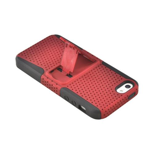 Made for Apple iPhone SE / 5 / 5S  Case,  [Red Mesh on Black]  Rubberized Hard Case Over Silicone Case w/ Built-In Kickstand by Redshield