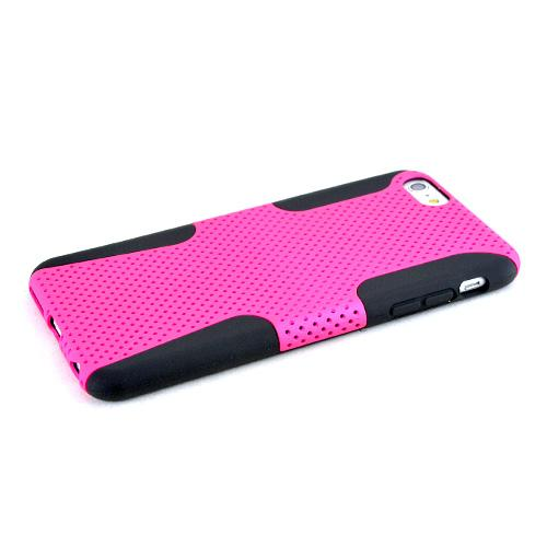 Apple iPhone 6 PLUS/6S PLUS (5.5 inch) Heavy Case,  [Hot Pink/ Black] Rubberized Mesh Supreme Protection Silicone Dual Layer Hybrid Case
