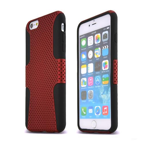 Made for Apple iPhone 6 PLUS/6S PLUS (5.5 inch) Heavy Case,  [Red/ Black] Rubberized Mesh Supreme Protection Silicone Dual Layer Hybrid Case by Redshield