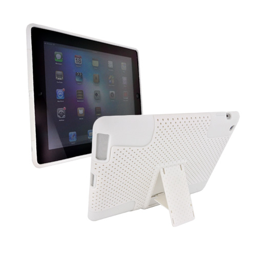 Apple iPad 2 Rubberized Hard Case Over Silicone w/ Stand - White