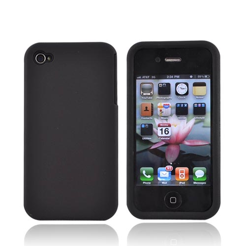 Luxmo Apple iPhone 4 Silicone Case w/ Rubberized Back Cover - Black