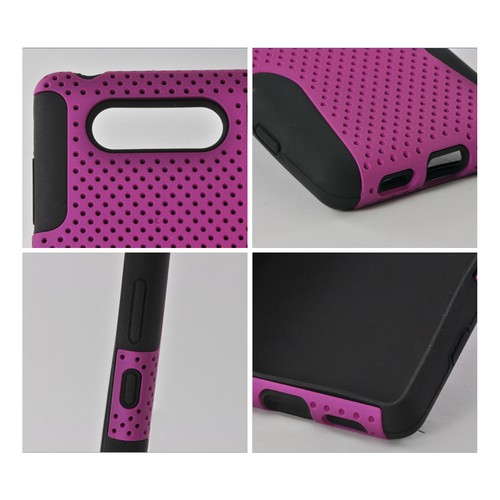 Purple Mesh on Black Rubberized Hard Cover on Silicone for Nokia Lumia 820