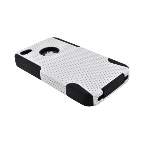 AT&T/ Verizon Apple iPhone 4, iPhone 4S Rubberized Hard Case Over Silicone - White Mesh on Black