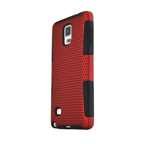 Samsung Galaxy Note 4 Case, [Red] Rubberized Mesh Slim & Protective Rubberized Matte Finish Snap-on Hard Polycarbonate Plastic Case Cover