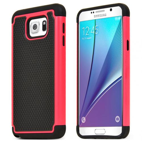 Samsung Galaxy Note 5, [Black/ Red]  Supreme Protection Rubberized Matte Plastic on Silicone Dual Layer Hybrid Case