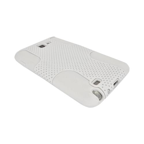 Samsung Galaxy Note Rubberized Hard Case Over Silicone - White Mesh on White