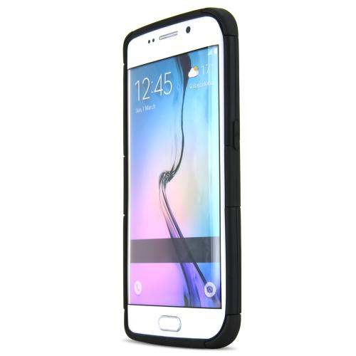 Samsung Galaxy S6 Edge Case,  [Black]  Supreme Protection Rubberized Plastic on Silicone Dual Layer Hybrid Case