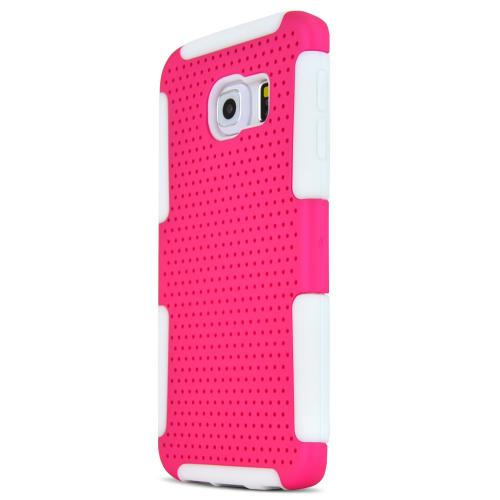 Samsung Galaxy S6 Edge Case,  [Hot Pink]  Supreme Protection Rubberized Plastic on Silicone Dual Layer Hybrid Case