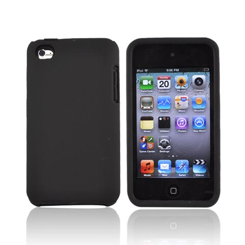 Luxmo Apple iPod Touch 4 Rubberized Hard Case w/ Silicone Case - Black