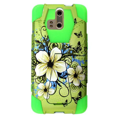 ZTE Axon Pro Case, [Green Hawaiian Flowers] Supreme Protection Rubberized Hard on Silicone Dual Layer Hybrid Case w/ Kickstand