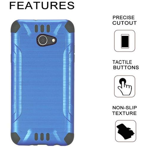 Alcatel A30 Shockproof Case, Slim Armor Brushed Metal Design Hybrid Hard Case on TPU [Blue] with Travel Wallet Phone Stand
