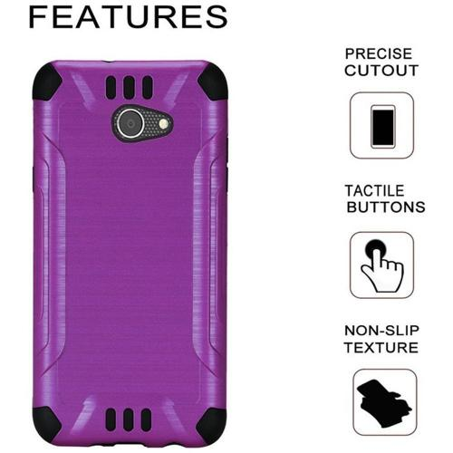 Alcatel A30 Shockproof Case, Slim Armor Brushed Metal Design Hybrid Hard Case on TPU [Purple] with Travel Wallet Phone Stand