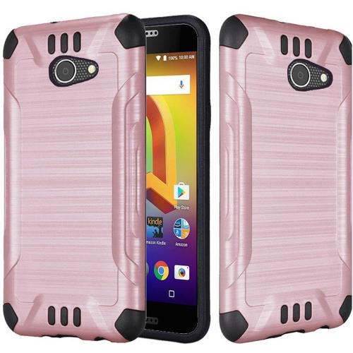 Alcatel A30 Shockproof Case, Slim Armor Brushed Metal Design Hybrid Hard Case on TPU [Rose Gold] with Travel Wallet Phone Stand