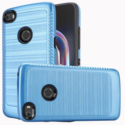 Alcatel Idol 5 Hybrid Case, [Blue/ Black] Slim Armor Brushed Metal Design Hard Case on TPU