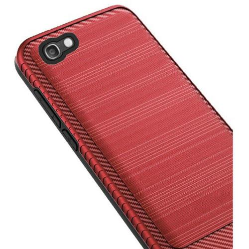 Alcatel Idol 5 Hybrid Case, [Red/ Black] Slim Armor Brushed Metal Design Hard Case on TPU