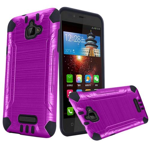 Coolpad Catalyst Case, Slim Armor Brushed Metal Design Hybrid Hard Case on TPU [Purple/ Black] with Travel Wallet Phone Stand