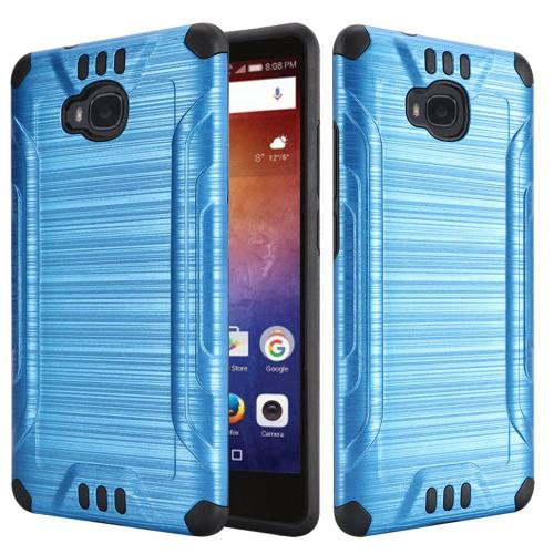 Huawei Ascend XT Case, Slim Armor Brushed Metal Design Hybrid Hard Case on TPU [Blue/ Black] with Travel Wallet Phone Stand