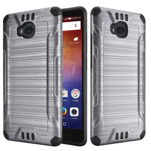 Huawei Ascend XT Case, Slim Armor Brushed Metal Design Hybrid Hard Case on TPU [Gray/ Black] with Travel Wallet Phone Stand
