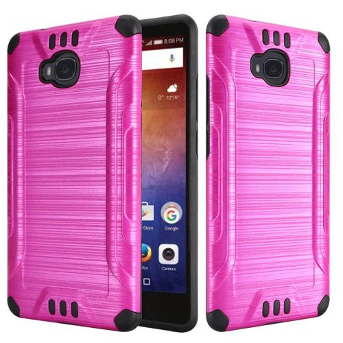 Huawei Ascend XT Case, Slim Armor Brushed Metal Design Hybrid Hard Case on TPU [Hot Pink/ Black] with Travel Wallet Phone Stand