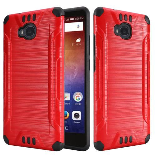 Huawei Ascend XT Case, Slim Armor Brushed Metal Design Hybrid Hard Case on TPU [Red/ Black] with Travel Wallet Phone Stand