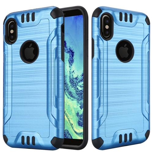 Made for [Apple iPhone X / XS 2018] Hybrid Case, [Blue/ Black] Slim Armor Brushed Metal Design Hybrid Hard Case on TPU Case by Redshield