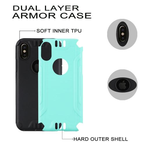 Made for [Apple iPhone X / XS 2018] Hybrid Case, [Mint/ Black] Slim Armor Brushed Metal Design Hybrid Hard Case on TPU Case by Redshield