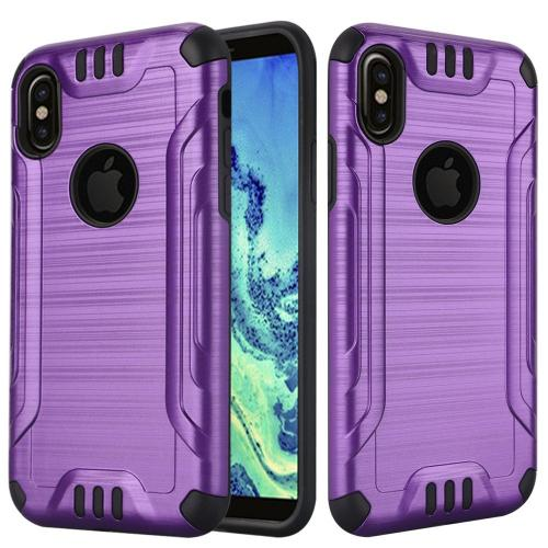 Made for [Apple iPhone X / XS 2018] Hybrid Case, [Purple/ Black] Slim Armor Brushed Metal Design Hybrid Hard Case on TPU Case by Redshield