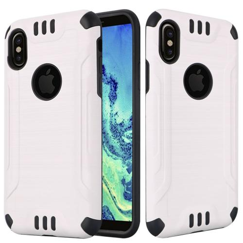 Made for [Apple iPhone X / XS 2018] Hybrid Case, [White/ Black] Slim Armor Brushed Metal Design Hybrid Hard Case on TPU Case by Redshield