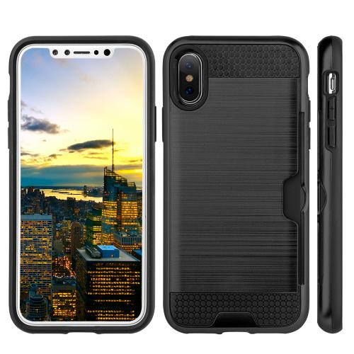 Made for [Apple iPhone X / XS 2018] Card Case, [Black] Metallic Case Slim Brushed Metal Hybrid Hard Case on TPU w/ Card Slot by Redshield