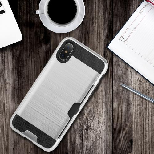 Made for [Apple iPhone X / XS 2018] Card Case, [Silver Black] Metallic Case Slim Brushed Metal Hybrid Hard Case on TPU w/ Card Slot by Redshield