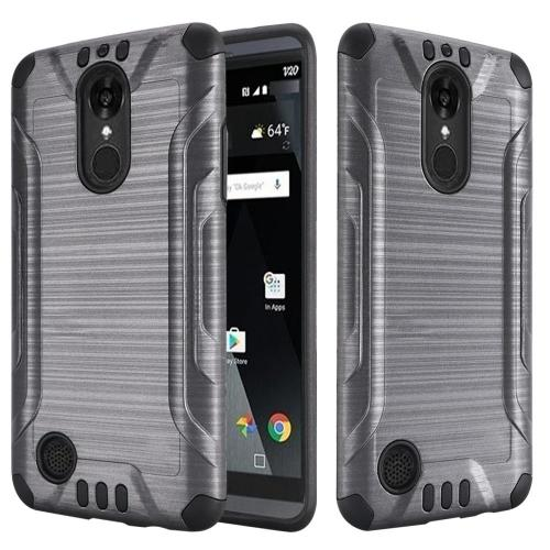 LG Aristo/ Fortune Case, Slim Armor Brushed Metal Design Hybrid Hard Case on TPU [Gray/ Black]