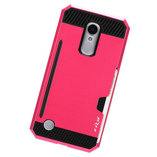 LG Aristo/ Fortune Case, Super Slim Brushed Metallic Hybrid Hard Cover on TPU w/ Card Slots [Hot Pink/ Black]