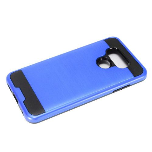 LG G6 Metallic Case, Super Slim Brushed Metallic Hybrid Hard Cover on TPU [Royal Blue] with Travel Wallet Phone Stand