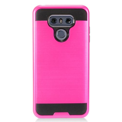 LG G6 Metallic Case, Super Slim Brushed Metallic Hybrid Hard Cover on TPU [Hot Pink] with Travel Wallet Phone Stand