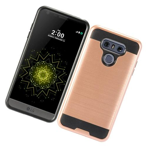 LG G6 Metallic Case, Super Slim Brushed Metallic Hybrid Hard Cover on TPU [Rose Gold] with Travel Wallet Phone Stand