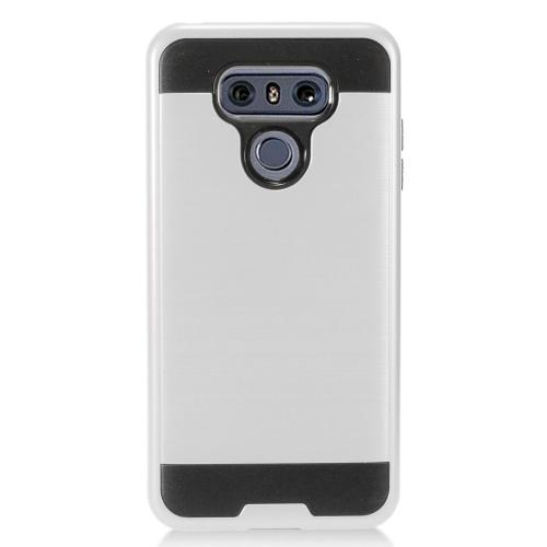 LG G6 Metallic Case, Super Slim Brushed Metallic Hybrid Hard Cover on TPU [Silver] with Travel Wallet Phone Stand