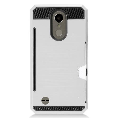 LG K10 (2017) Case, Super Slim Brushed Metallic Hybrid Hard Cover on TPU w/ Card Slots [Silver] with Travel Wallet Phone Stand