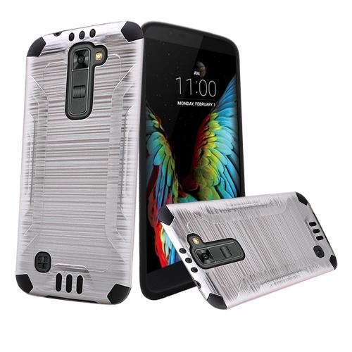 LG K10 Case, Slim Armor Brushed Metal Design Hybrid Hard Case on TPU [Silver/ Black]