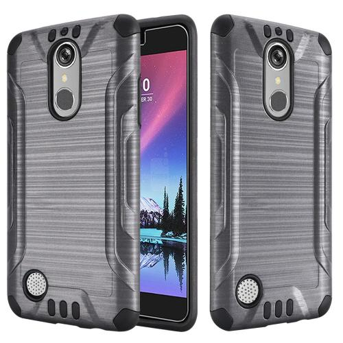 LG K20 Plus/ LG K20 V Case, Slim Armor Brushed Metal Design Hybrid Hard Case on TPU [Gray/ Black] with Travel Wallet Phone Stand