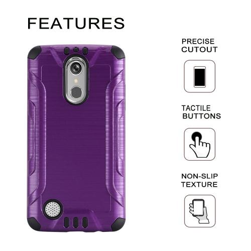 LG K20 Plus/ LG K20 V Case, Slim Armor Brushed Metal Design Hybrid Hard Case on TPU [Purple/ Black] with Travel Wallet Phone Stand
