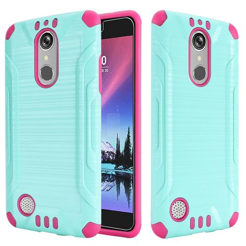 LG K20 Plus/ LG K20 V Case, Slim Armor Brushed Metal Design Hybrid Hard Case on TPU [Mint/ Hot Pink] with Travel Wallet Phone Stand