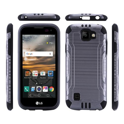 LG K3 Case, Slim Armor Brushed Metal Design Hybrid Hard Case on TPU [Gray/ Black]