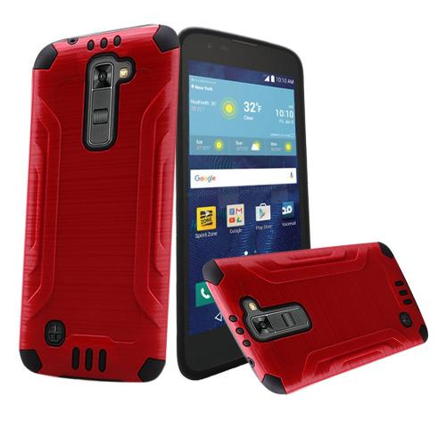 LG K7/ LG Tribute 5 Case, Slim Armor Brushed Metal Design Hybrid Hard Case on TPU [Red/ Black]