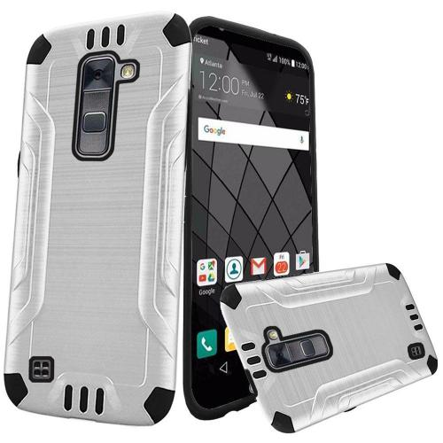 LG Stylo 2 Plus Case, Slim Armor Brushed Metal Design Hybrid Hard Case on TPU [White/ Black]