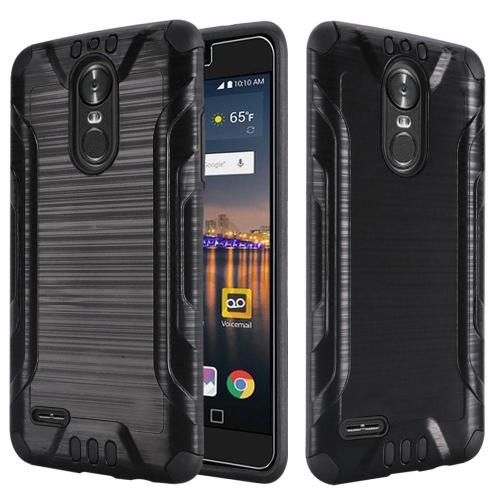 LG Stylo 3/ Stylo 3 Plus Hybrid Case, Slim Armor Brushed Metal Design Hybrid Hard Case on TPU [Black] with Travel Wallet Phone Stand