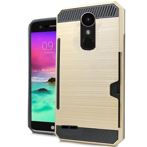 LG Stylo 3/ 3 Plus Case, Slim Brushed Metal Hybrid Hard Case on TPU w/ Card Slot [Black/ Gold] with Travel Wallet Phone Stand