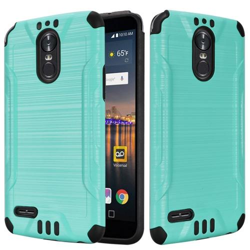 LG Stylo 3/ Stylo 3 Plus Hybrid Case, Slim Armor Brushed Metal Design Hybrid Hard Case on TPU [Mint] with Travel Wallet Phone Stand