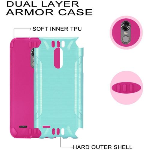 LG Stylo 3/ Stylo 3 Plus Hybrid Case, Slim Armor Brushed Metal Design Hybrid Hard Case on TPU [Mint/ Hot Pink] with Travel Wallet Phone Stand