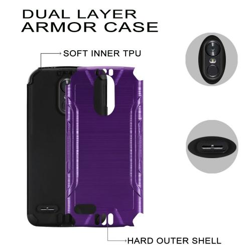 LG Stylo 3/ Stylo 3 Plus Hybrid Case, Slim Armor Brushed Metal Design Hybrid Hard Case on TPU [Purple] with Travel Wallet Phone Stand